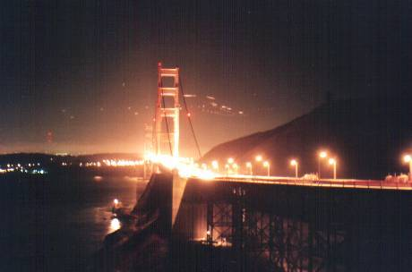 Golden  Gate Bridge from North-East at night