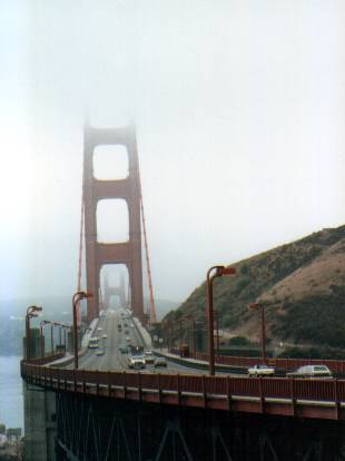 Golden  Gate Bridge from North-East (foggy)